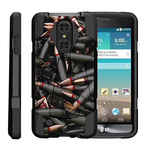 TurtleArmor | Compatible with LG Aristo Case | LG LV3 Case | LG K8 (2017) Case [Dynamic Shell] Impact Hard Kickstand Hybrid Shock Silicone Cover Robot Military Army - Black Bullets