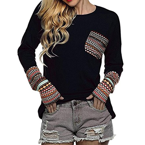 Lookatool Womens Patchwork Casual Loose T-Shirts Blouse Tops with Thumb Holes