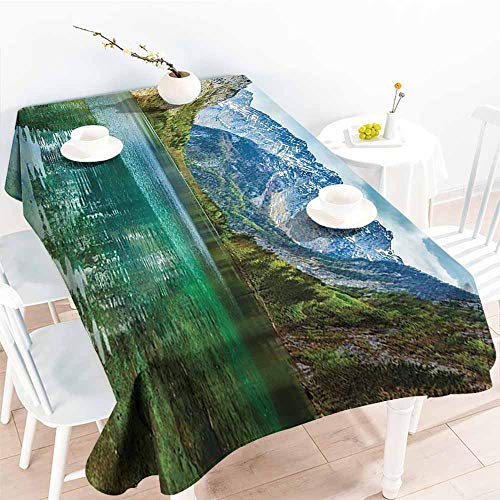 Fabric Tablecloths for Kitchen Room,Lakehouse Decor Collection,Serenity of Obersee Mountain Lake in a Valley of Alps Bavaria Germany with Small Forest Scene,Teal 52