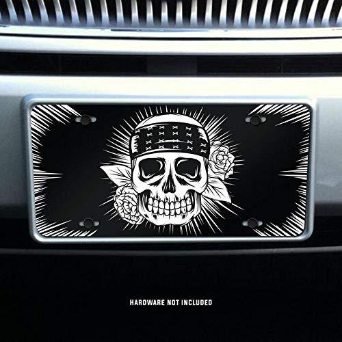 Hippie Skull with Flowers Printed Vanity Front License Plate Tag KCFP100 KCD