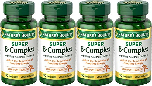 Nature's Bounty B-Complex with Folic Acid Plus Vitamin C, Tablets 150 Each (Pack of 4)