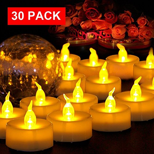 AMAGIC Small Led Tealight Candles Bulk - Battery Operated Tea Lights With Flickering Amber Yellow Glow, Quality Fake Led Tealight Candles For Holiday, Wedding, Party, Votive(Pack Of 30, Dia (Fake Fire Halloween)