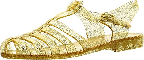 Forever Womens Jedi Summer T-Strap Retro Jelly Rain Flat Sandals,Gold Glt,7 - Flats Sandals For Women Under $5