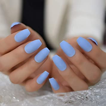 Amazon Com Baby Blue Coffin Press On Nails Medium Long False Nail Tips 20 Pcs Full Cover Fake Nails Beauty These nails are unavoidable to be admired.
