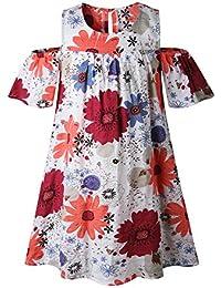 Fashion Printed Cold-Shoulder Girl's Dress