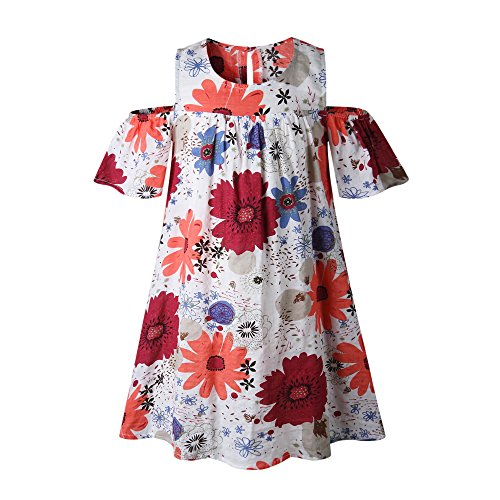 Tifanso Fashion Sunflower Cold-Shoulder Girl's Dress (Red Sunflower, S)