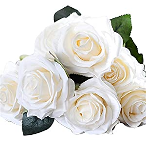 Erovy - NEW Home Decor Artificial silk 1 Bunch 10 Head French Rose Floral Bouquet Fake Flower Home Room Deccration 7