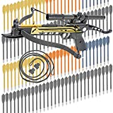 KingsArchery Crossbow Self-Cocking 80 LBS with Hunting Scope, Spare Crossbow String and Caps, 3 Aluminium Arrow Bolts, and Bonus 120-pack of Colored PVC Arrow Bolts Warranty