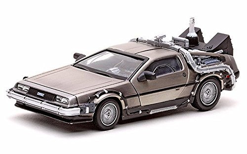 1981 DeLorean DMC 12 Coupe - Back to the Future II Time Machine, Stainless Steel - Sun Star 24010 - 1/43 Scale Diecast Model Toy Car