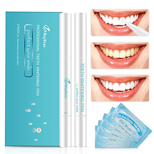 MayBeau Teeth Whitening Gel Pen Kit with Free Gifts of 5-Pack Deep Cleaning Teeth Wipes, Safe 35% Carbamide Peroxide Gel, Less Time, Effective, No Sensitivity