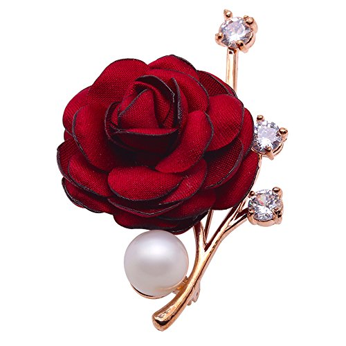 JYX Fine Red Rose-style 11.5mm White Freshwater Pearl Brooch Pin