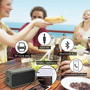 Vomach Speaker IPX6 Waterproof Stereo Sound Bluetooth Speakers Wireless Portable Speakers