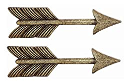 Creative Co-op Pewter Arrow Multi-use Handle, 4.5x2.5-Inches, Set of 2