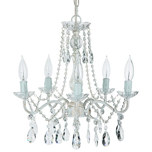 'Tiffany Collection' Crystal Swag Chandelier, 5 lights, Authentic Glass Pendant Lighting, Vintage Antique (Whitewashed)