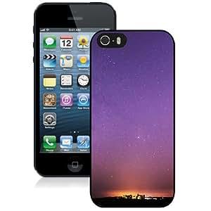 NEW Unique Custom Designed iPhone 5S Phone Case With Purple Starry Sky_Black Phone Case