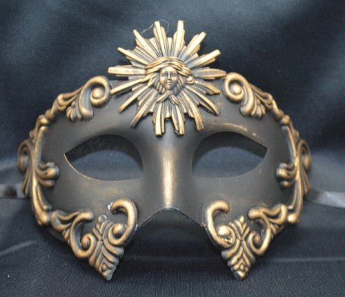 NEW Mens Mythological Gold/black Sun God Greek Style Party Mask Mens Mythological Greek Style Party Mask Mardi Gras Party Halloween Ball Prom by (God Mask)
