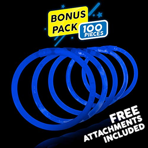 Lumistick 8 Inch 100 Pack Glow Sticks - Bendable Glow Sticks with Necklace and Bracelet Connectors - Glowstick Bundle Party Bracelets Best for Parties, Events and Holidays (Blue, 100) -