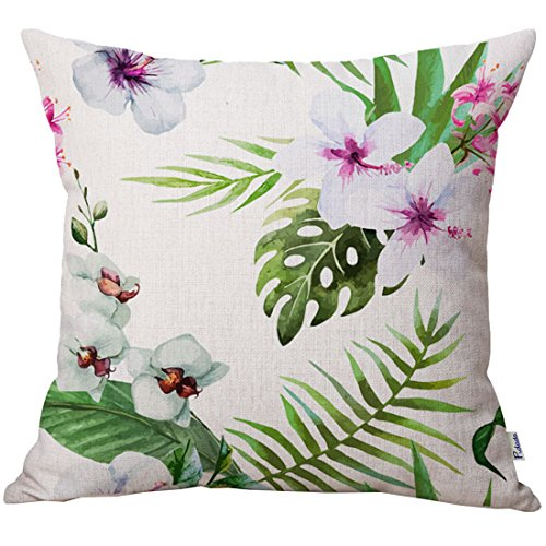Pidada Throw Pillow Cases Tropical Plants Square Cotton & Linen Cushion Pillow Covers for Sofa Home Decor, 18 X 18 Inches (Hibiscus flowers (Hibiscus Pillow)