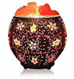 Himalayan CrystalLitez Himalayan Salt Lamp With Dimmer Cord,Pink Salt Crystals In A Handcrafted and Glowing Artisan Bowl, Air Purifier and Aromatherapy Salt Lamp UPGRADED designs (Batik Flowers)