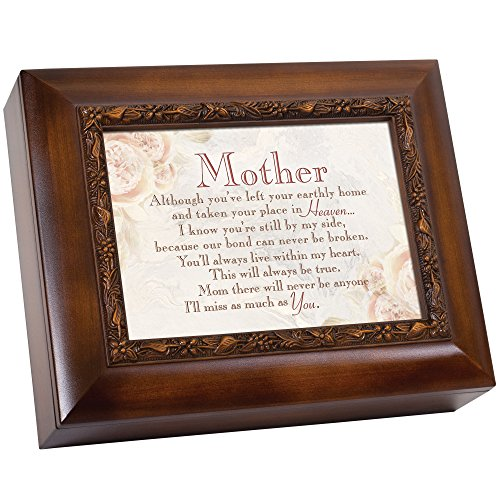 Cottage Garden Mother Left Your Earthly Home Woodgrain Embossed Ashes Bereavement Urn Box ()