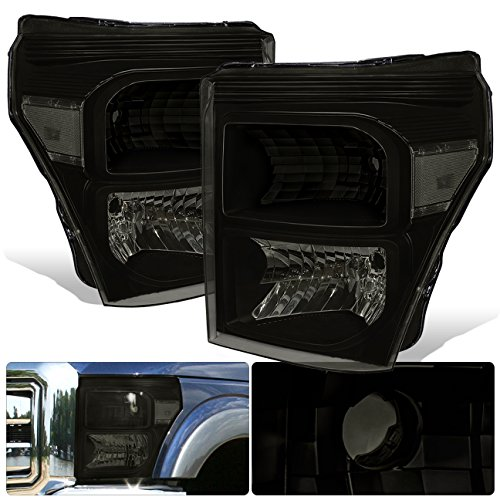 For Ford F250 Super Duty Black Housing Smoked Lens Clear Reflectors Replacement Headlights ()