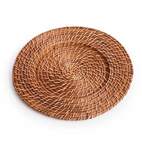 Amazoncom Koyal Wholesale Rattan Charger Plates 4Pack Honey