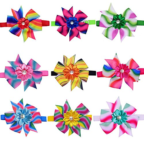 (Masue Pets 10pcs/pack Adorable Dog Bow ties Gorgeous Pinwheel Wave Design Bright Flower Pearls Dog Ties Dog Neckties Festival Dog Collar Dog Accessories)
