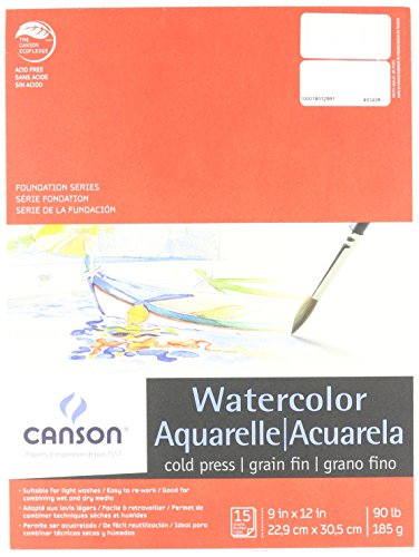 Canson 100511022 Watercolor Pad, 15 Sheets, 9