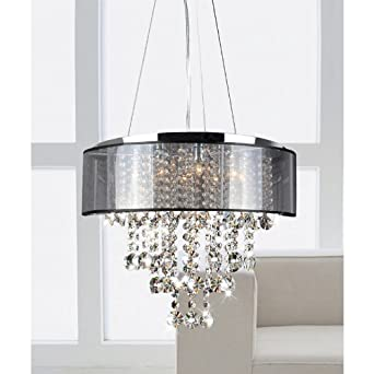 Visalia chrome and translucent black shade 9 light crystal visalia chrome and translucent black shade 9 light crystal chandelier mozeypictures Image collections