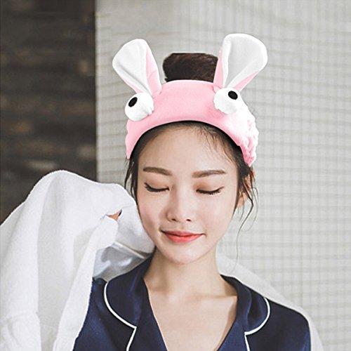 VANZAVANZU Women's Bunny Ear Headband Best Fashionable Cute Fluffy Elastic Makeup Headband Hairband for Shower, Face…