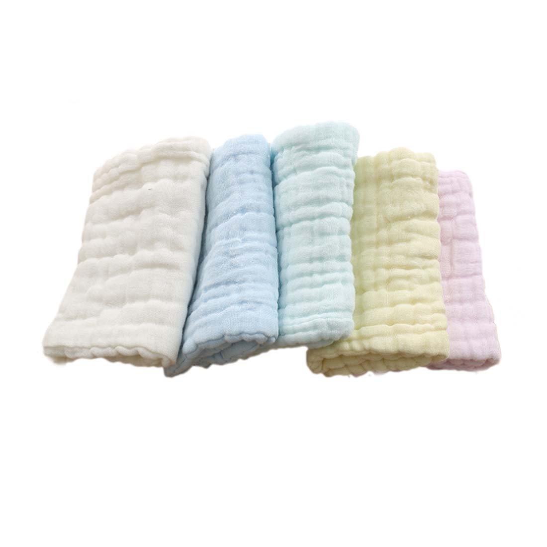 FYGOOD Lot de 5pcs Mouchoir en mousseline Bébé Nouveau-Né avec Crochet 12 couches de Gaze 46*17cm