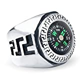 JAJAFOOK Men's Punk Fashion Stainless Steel EDC Outdoor Travel Compass Rings, High Polished Metal