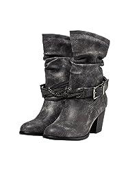 Eclimb Women Chunky Heel Bandage Western Style Cowboy Boots