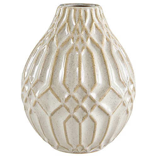 "Stone & Beam Modern Ceramic Vase With Geometric Pattern, 7.7""H, White"