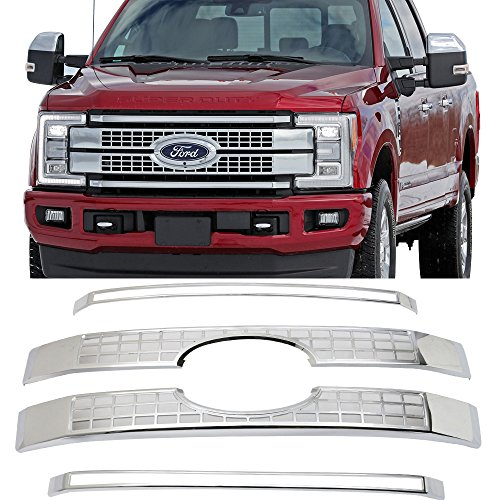 Grille Fits 2017-2018 Ford F250 F350 F450 F550 Super Duty | Chrome Platinum Style Front Bumper Hood Grill by IKON MOTORSPORTS ()