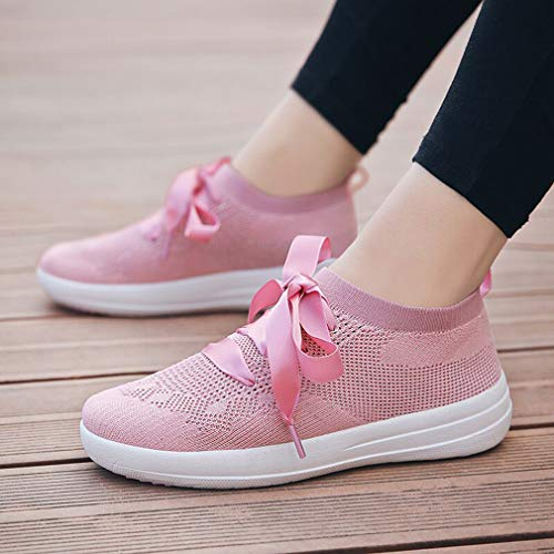 Respirant Fitness Lacets Course Occasionnels athlétiques Femmes Espadrilles Chaussures de Formateurs Marche à Hibote de Maille Rose légers wpP1v7wHq