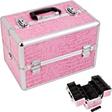 PINK CROCODILE TEXTURED PRINTING 2-TIERS EXTENDABLE TRAYS PROFESSIONAL COSMETIC MAKEUP CASE WITH DIVIDERS – M4001