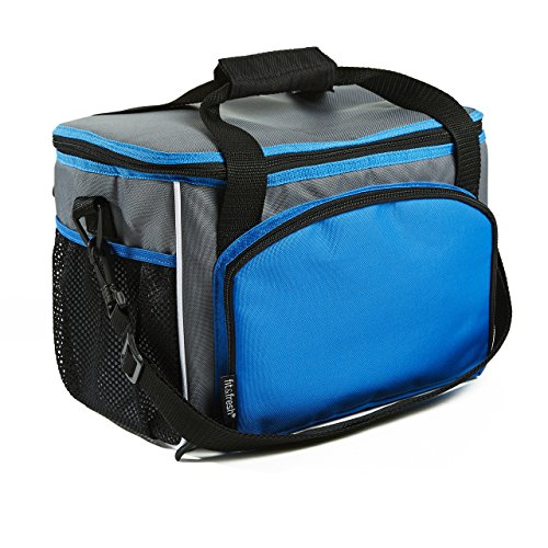 (Fit & Fresh 12 Can Capacity Cooler Bag, Insulated with Adjustable Shoulder Strap, Soft Sided Zippered Lunch Box for Adults & Kids, Blue/Gray)