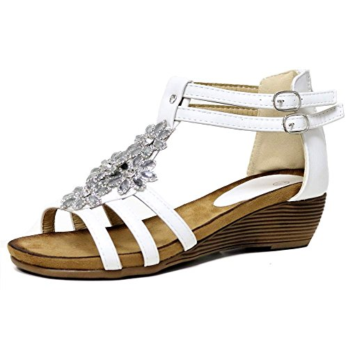 Impressionz Womens Ladies mid Heel Footbed Wedge Sandals New Gladiator Diamante Summer Dress Evening Strappy Sandals Shoes Size 3-8 White kXXjIe58D1