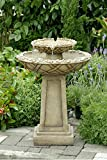 "29"" Light Brown Stone Look Tiered Bowls Outdoor Patio Garden Birdbath Fountain"