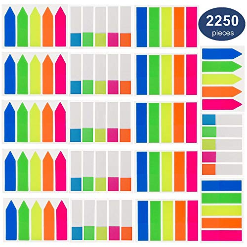 Page Markers 2250 Pieces Colored Index Tabs Flag Tabs, OUHL Neon Sticky Tabs for Marking, 18 Sets 3 Sizes