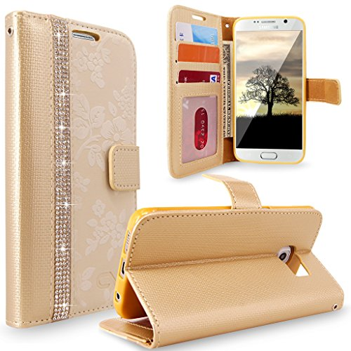 S7 Case, Galaxy S7 Case, Cellularvilla [Diamond Jewel] Embossed Flower Design Premium Pu Leather Wallet Case [Card Slots] [Stand Feature] Folio Flip Cover For Samsung Galaxy S7 (Golden Bling)]()