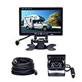 Camecho Vehicle Backup Camera 7'' TFT Monitor,18 IR Night Vision Rear View Camera Without Gride Line IP 68 Waterproof, 4 Pins Aviation Extension Cable For 33FT Length RVs, Bus, Trailer,Truck