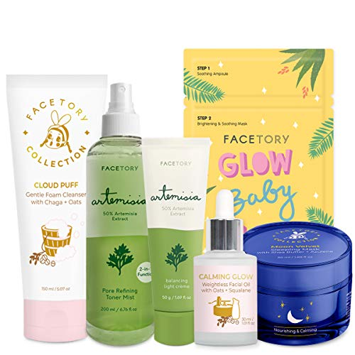 FaceTory Facial Spa Skin Care Set for Combination Skin - Balancing, Moisturizing, Hydrating, Soothing