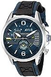 AVI-8 Hawker Harrier II - Reloj de cuarzo para hombre (acero inoxidable y piel), Azul
