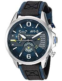 AVI-8 Men's 'Hawker Harrier II' Quartz Stainless Steel and Leather Aviator Watch, Color:Blue (Model: AV-4056-01)