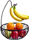#7: DecoBros Wire Fruit Tree Bowl with Banana Hanger, Bronze