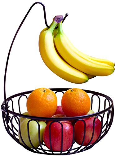 DecoBros Wire Fruit Tree Bowl with Banana Hanger, Bronze (Fruit Banana Tree Bowl)