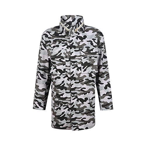 Chiaro Sciolto Grigio Stand Xcxka Donna Giacca Cerniera Tasca Streetwear Moda Camouflage Lunga Manica Outwear Collare qwx6nZx