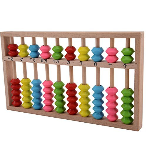 Happy Will Chinese Wooden Soroban Abacus Arithmetic Calculating Tool Toys with Colorful Beads for Kids with Stylus